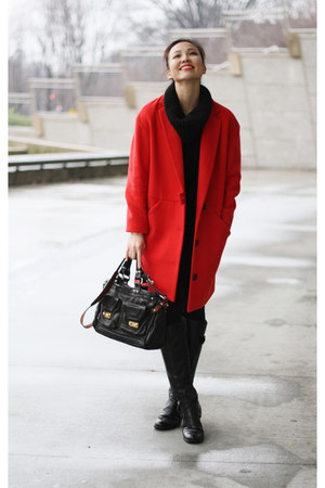red Space coat - black Joe Fresh sweater - black Joe Fresh pants