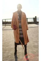 tan coat - fewmoda coat - sweater - maroon Salvatore Ferragamo bag