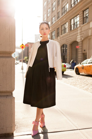 black fewmoda dress - Helmut Lang jacket - pink fewmoda heels