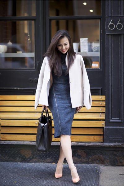 Elie Tahari coat - modcloth dress - Prada bag