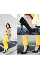 metalic heels All Sait heels - bright colors Top Shop pants