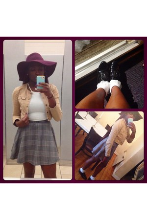 heather gray plaid circle American Apparel skirt - purple floppy hat