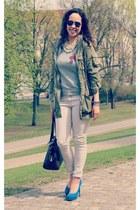 skinny H&M jeans - H&M jacket - GINA TRICOT bag - Georgia Rose heels