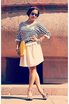 Steve Madden wedges - H&M hat - Promod shirt - H&M skirt