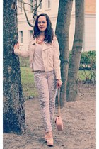 eggshell bikerjacket H&M jacket - eggshell H&M jeans
