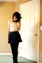 blue Forever 21 skirt - white blouse - black Forever 21 tights