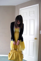 yellow dress - black Forever 21 cardigan - gold purse - black shoes