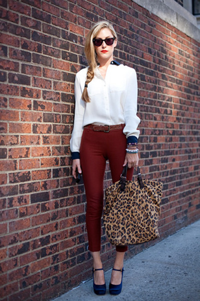 maroon pants - brown leopard tote bag - white blouse - blue silk pumps