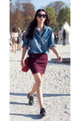 Sky-blue-denim-shirt-ruby-red-bag-maroon-mini-skirt-black-loafers