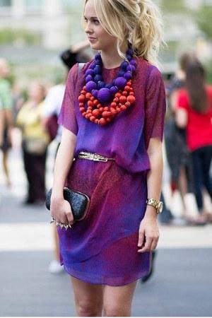 amethyst chiffon dress - black Alexander McQueen bag - black shop similar bag