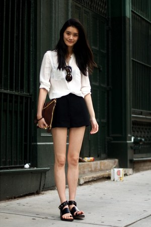 black pants - white blouse - black flats