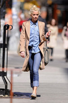 neutral long blazer - light blue denim shirt - beige Stella McCartney bag