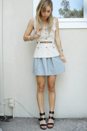 Treasure Chest vintage vest - Camille skirt - vintage belt - Aldo shoes