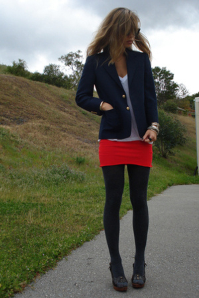 vintage blazer - vintage skirt - Urban Outfitters shirt - Kors Michael Kors shoe