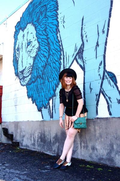 brown Vans shoes - black spanish trails modcloth hat - aquamarine modcloth purse