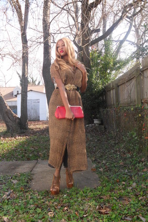 tan golden goddess Thrifted Dress dress