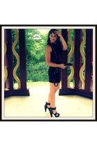 black Zara dress - black Zara accessories - black SDS shoes - black H&M sunglass
