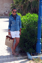 blue Zara blouse - white H&M shorts - white Bershka shorts - blue vintage second