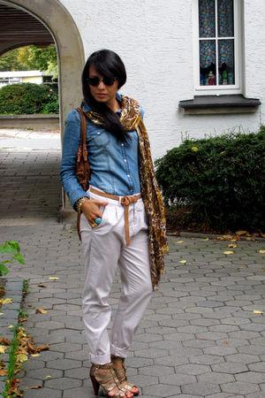 brown animal print H&M scarf - gold H&M shoes