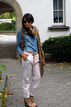 brown animal print H&M scarf - gold H&M shoes