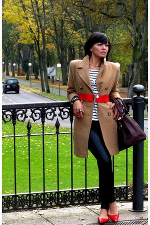 beige coat - red hm belt - black hm leggings - red Zara shoes - white hm shirt