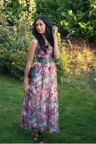 maxi Lene V dress - chains Bik Bok purse - butterfly H&M ring