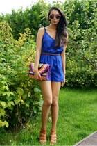 blue BikBok romper - hot pink morris purse - hot pink GINA TRICOT sunglasses