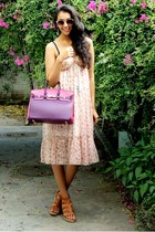 hot pink bag - purple birkin Hermes bag - brown bought in India dress