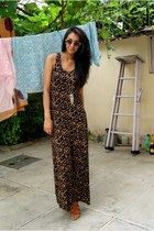 brown maxi dress H&M dress - gold gold H&M necklace - tawny Regal wedges