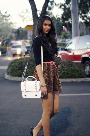black sam edelman flats - white Forever21 bag - black Bik Bok top