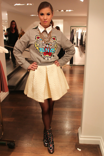 Kenzo boots - Kenzo sweater - Kenzo skirt - Anna Dello Russo for H&M necklace