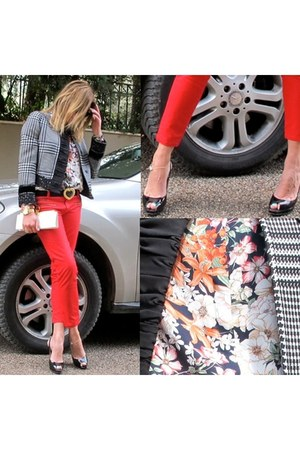 red Zara jeans - Zara shirt - black Jimmy Choo heels