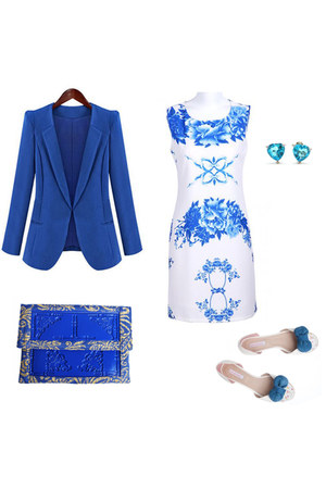 fine elegant Sheinside dress - blue elegant Sheinside jacket