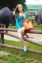 sky blue loafers - orange bag - turquoise blue blouse