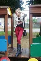 beige fishbone blazer - black CzasNaButy boots - black F&F bag