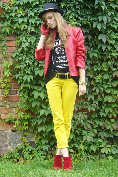 red leather jacket jacket - red wedges - yellow pants