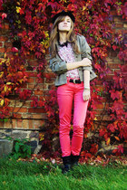 black boots - hot pink pants