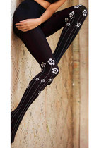 Flowers Garden Print Tights Black & Grey
