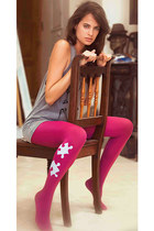 Puzzle Print Tights Pink & grey