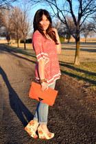 carrot orange polka dots Ella Moss blouse - white floral print Soda wedges