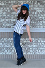 Blue-rue-21-hat-white-stripes-debs-shirt-black-go-jane-sneakers