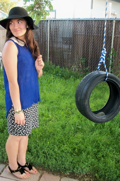 blue chiffon hi-low BaBassu blouse - black tassels City Classified sandals