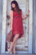 ruby red lace Rue 21 dress - white floral print Soda wedges
