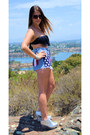 Blue-american-flag-diy-shorts-black-fringe-top-lspace-swimwear-silver-silver