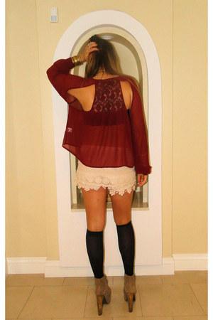 River Island shorts - Millau blouse - Jeffrey Campbell heels