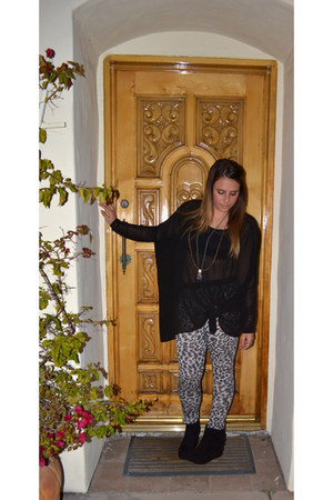 Topshop leggings - Jeffrey Campbell wedges - sheer LF top - LF necklace - Anthro