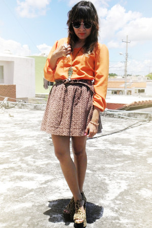 brown Jeffrey Campbell heels - Urban Outfitters sunglasses