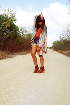 burnt orange Zara boots - turquoise blue Berhska shorts