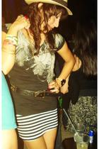 Bershka shirt - Bershka skirt - Typical shop hat - moms belt belt - by me neckla