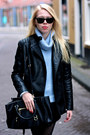 Black-zara-boots-black-leather-zara-jacket-periwinkle-fluffy-zara-sweater